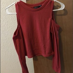 Long sleeve, cut-out crop top